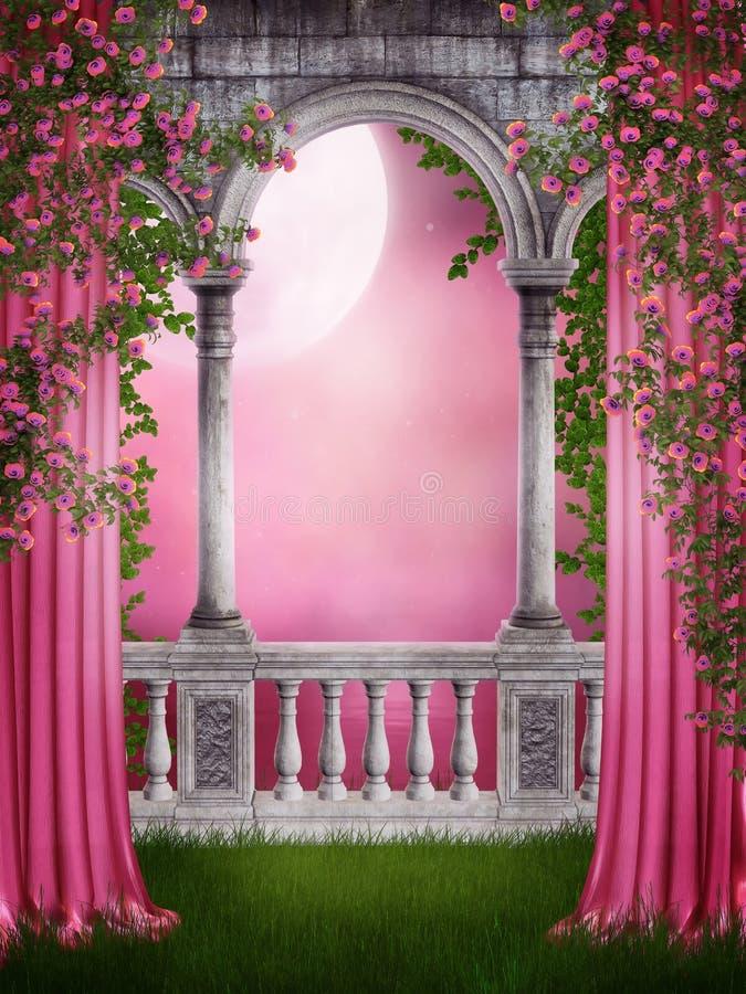 Jardín rosado con las cortinas libre illustration