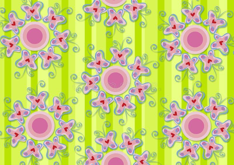 Jardín rosado de las mariposas del corazón ilustración del vector