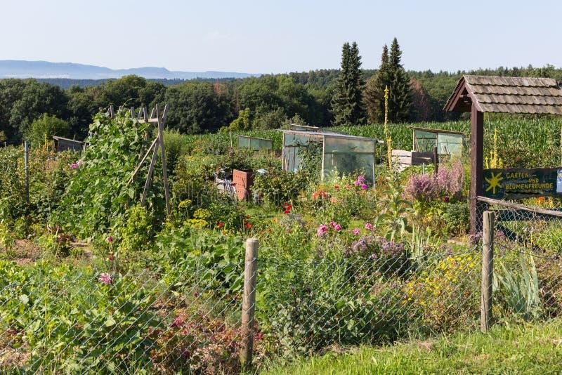 jardín rural de la cabaña en el día de verano caliente de garte de julio y de las letras foto de archivo libre de regalías