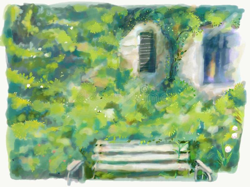 Jardín verde con el banco, flores, ejemplo del arte de la ventana Naturaleza hermosa al aire libre Paisaje de la naturaleza libre illustration