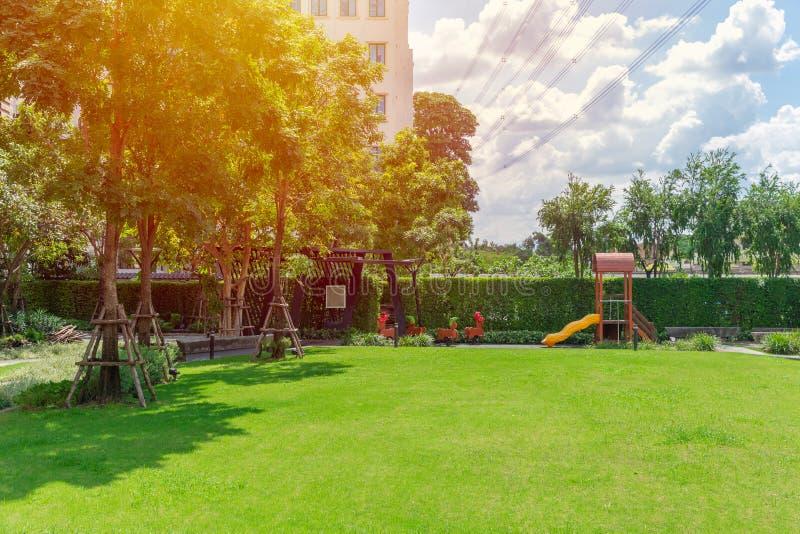 Jardín verde de la naturaleza del patio del patio trasero del campo del césped al aire libre fotos de archivo
