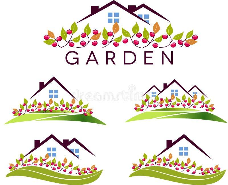 Jardín y casa de la fruta stock de ilustración