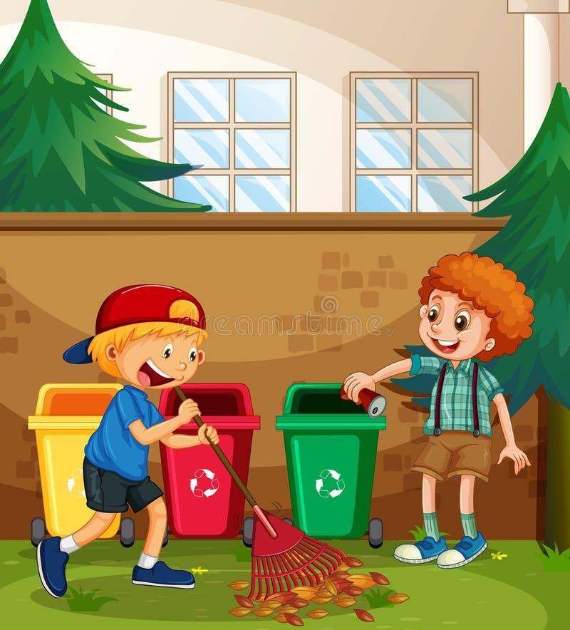 Jarda de limpeza da ajuda dos meninos ilustração stock