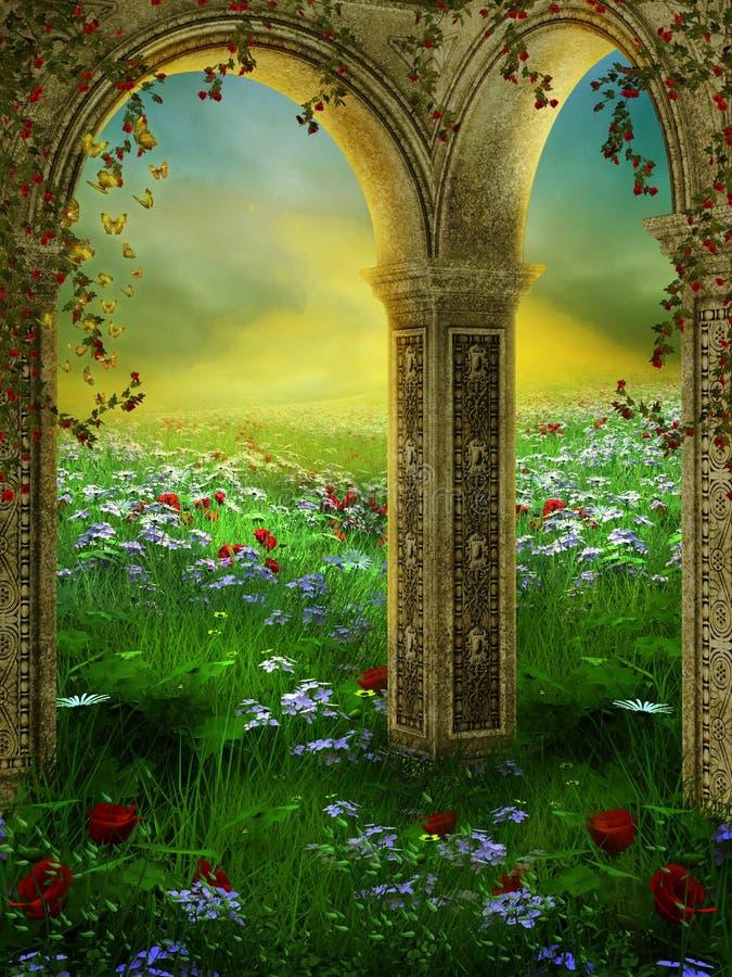 Jardim 3 do verão ilustração royalty free