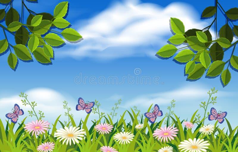 Jardim bonito e céu azul ilustração stock