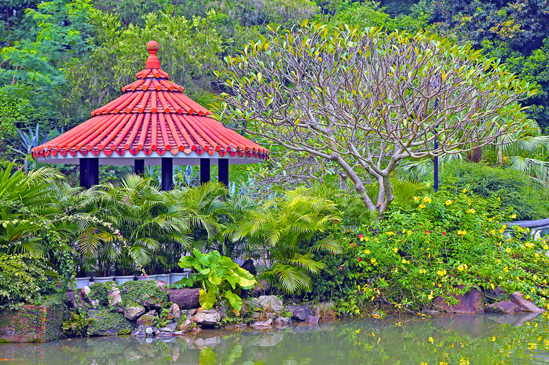 Jardim chinês do zen fotos de stock