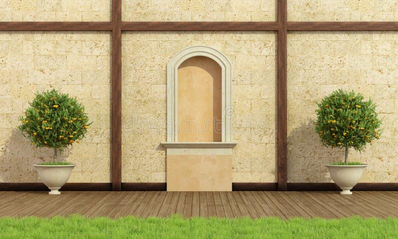 Jardim clássico com ameia ilustração stock