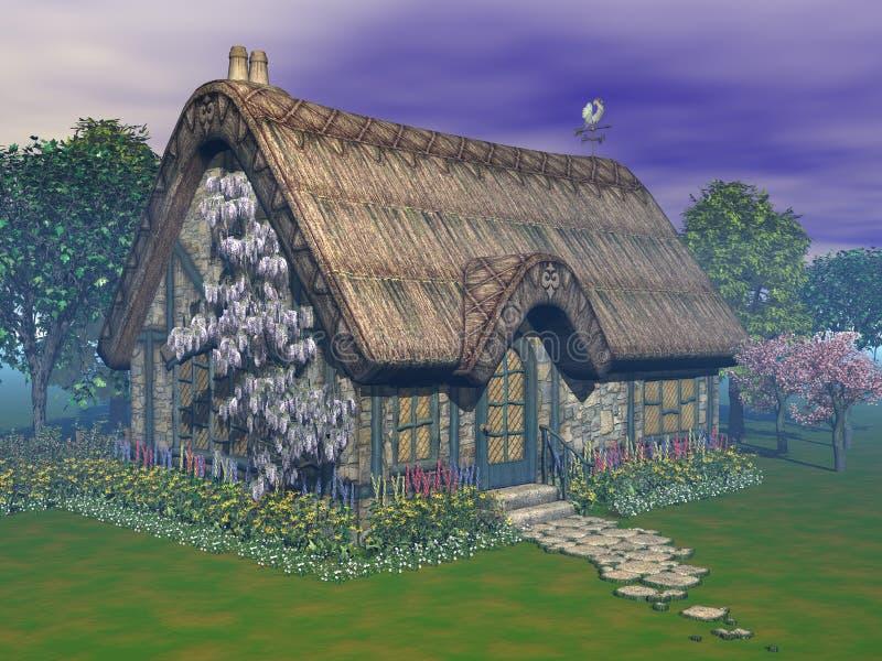 Jardim da casa de campo da fantasia ilustração royalty free