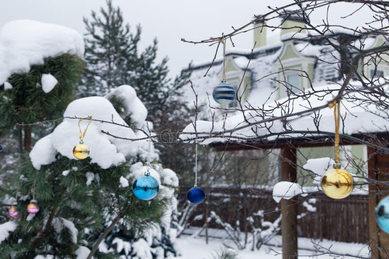 Jardim da casa de campo do inverno na neve com decoração do Natal fotos de stock royalty free