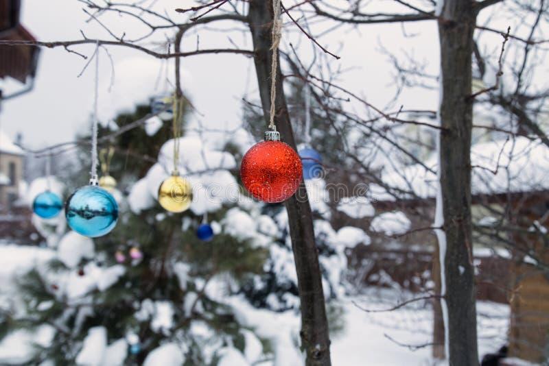 Jardim da casa de campo do inverno na neve com decoração do Natal foto de stock