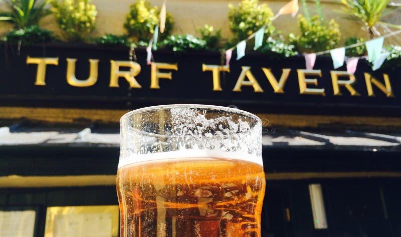 Jardim da cerveja da pinta da taberna do relvado de Oxford Inglaterra imagens de stock
