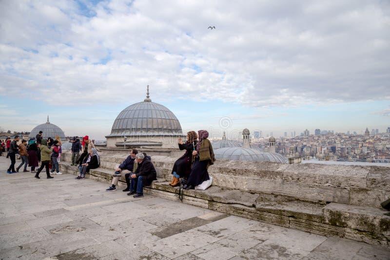 Jardim da mesquita de Suleymaniye Os turistas locais e estrangeiros vêm ver que a mesquita e algumas deles vêm adorar foto de stock royalty free