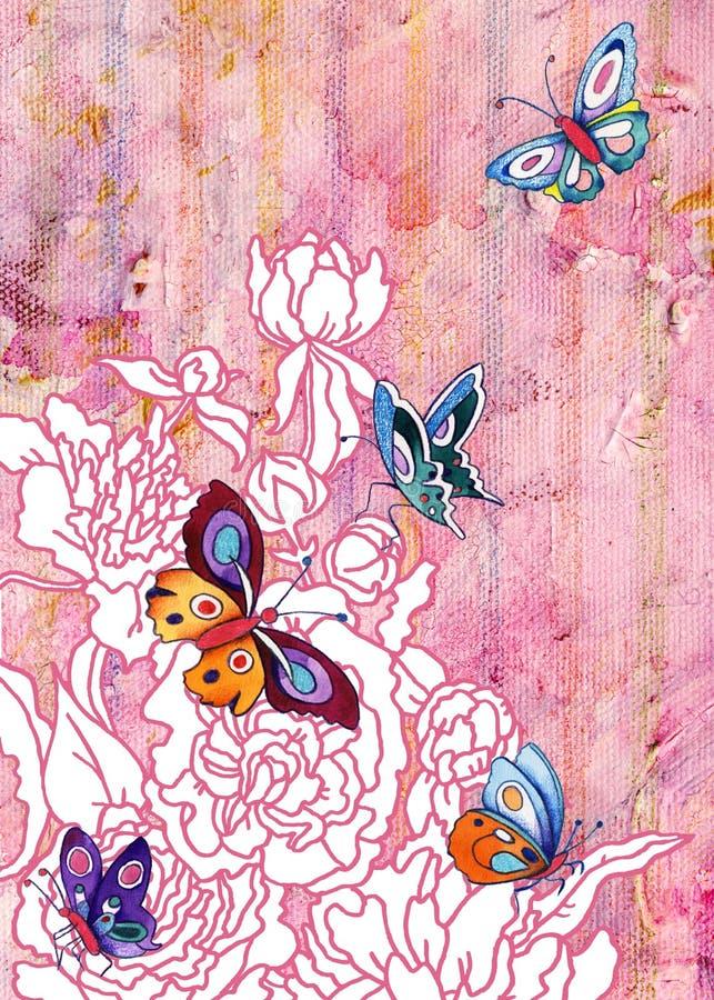 Jardim da peônia com borboletas ilustração do vetor