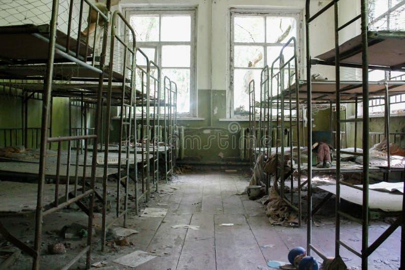 Jardim de infância abandonado na área de Chernobyl foto de stock royalty free