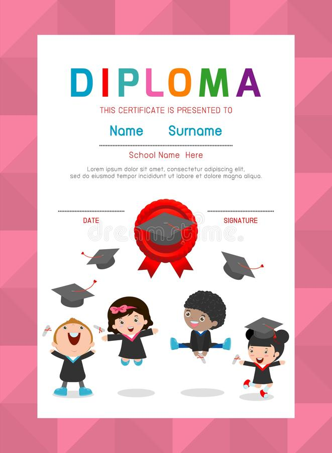 Jardim de infância dos certificados e elementar, molde do projeto do fundo do certificado do diploma das crianças do pré-escolar ilustração royalty free