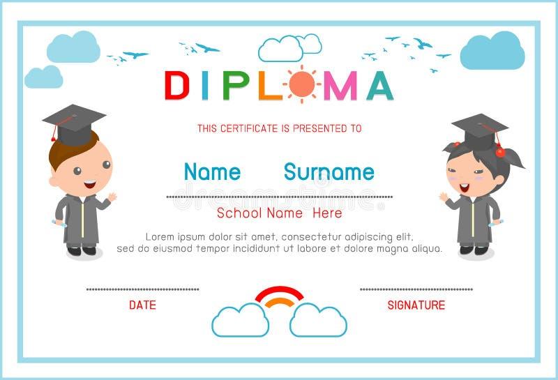 Jardim de infância dos certificados e elementar, molde do projeto do fundo do certificado do diploma das crianças do pré-escolar, ilustração royalty free