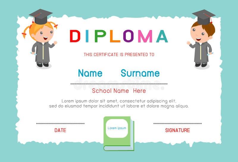 Jardim de infância dos certificados e elementar, molde do projeto do fundo do certificado do diploma das crianças do pré-escolar, ilustração stock