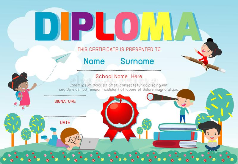 Jardim de infância dos certificados e elementar, molde do projeto do teste padrão do certificado do diploma das crianças do pré-e ilustração royalty free