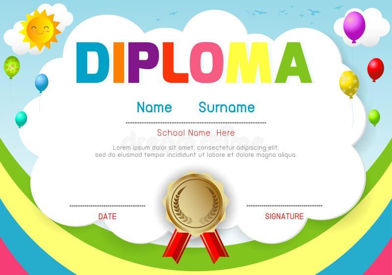 Jardim de infância dos certificados e elementar, molde do projeto do teste padrão do certificado do diploma das crianças do pré-e ilustração do vetor