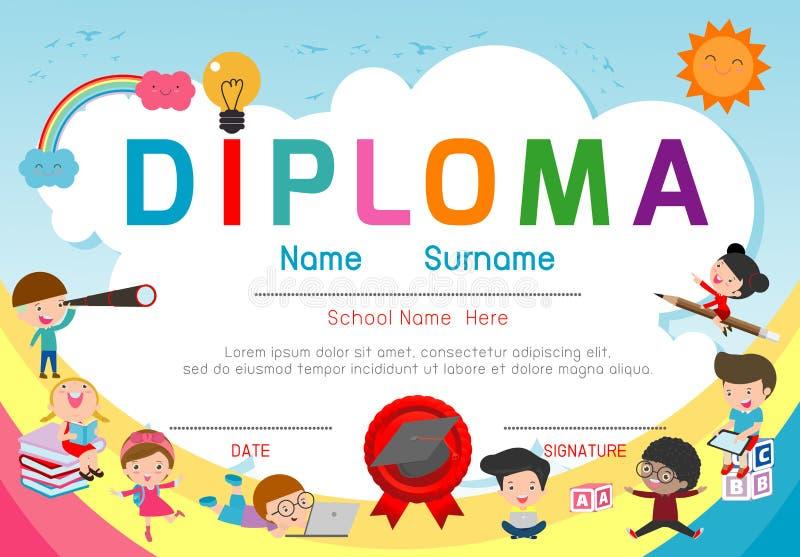 Jardim de infância dos certificados e molde elementar, pré-escolar do projeto do fundo do certificado do diploma das crianças, mo ilustração stock