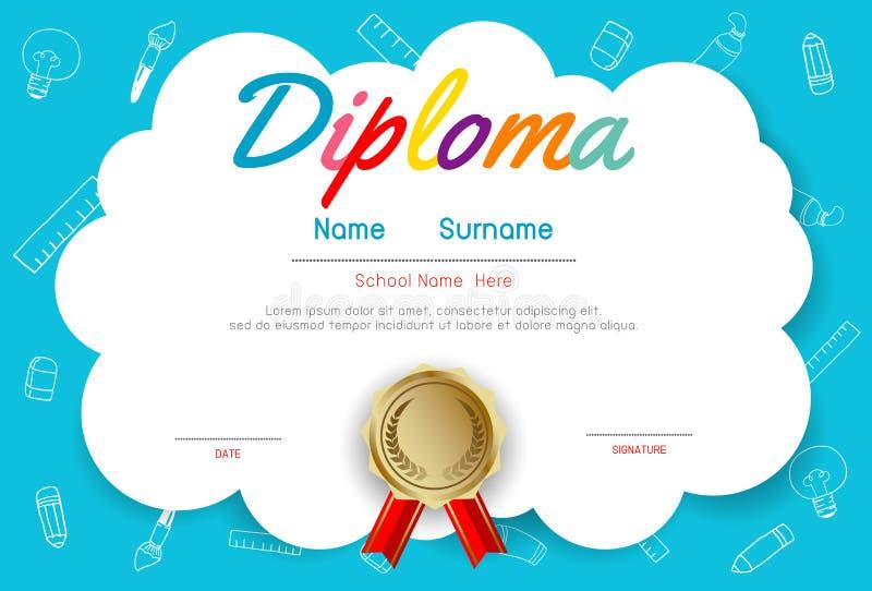 Jardim de infância dos certificados e molde elementar, pré-escolar do projeto do teste padrão do certificado do diploma das crian ilustração royalty free