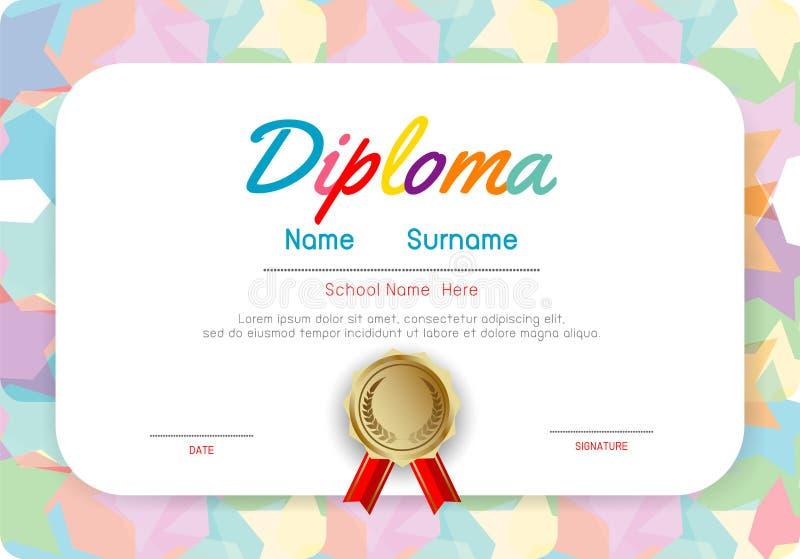 Jardim de infância dos certificados e molde elementar, pré-escolar do projeto do teste padrão do certificado do diploma das crian ilustração stock