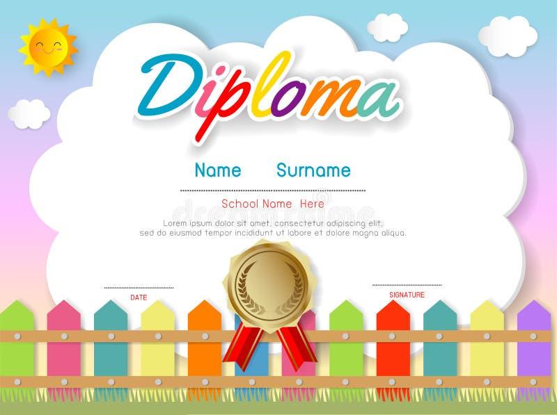 Jardim de infância dos certificados e molde elementar, pré-escolar do projeto do teste padrão do certificado do diploma das crian ilustração do vetor