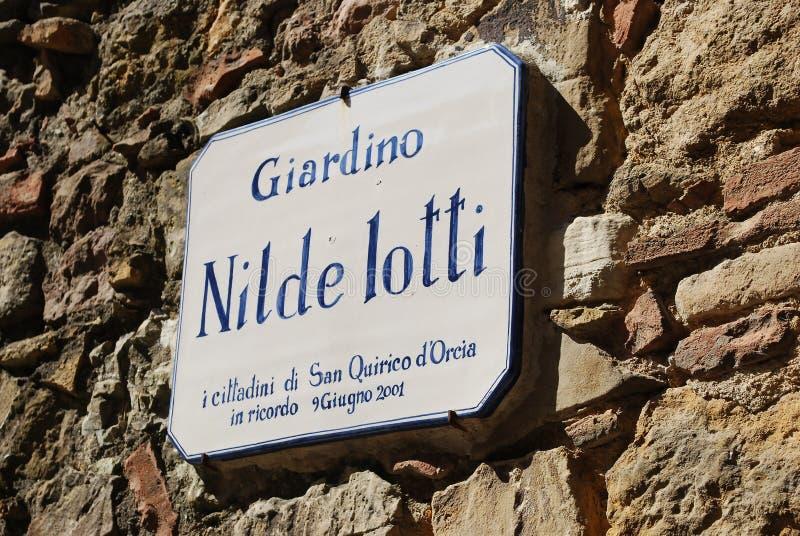 Jardim de Nilde Iotti, ` Orcia de San Quirico d foto de stock royalty free