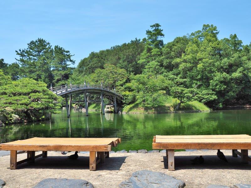 Jardim de Ritsurin em Takamatsu, Kagawa Prefecture, Japão fotografia de stock royalty free