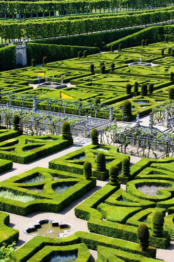 Jardim do castelo de Villandry foto de stock