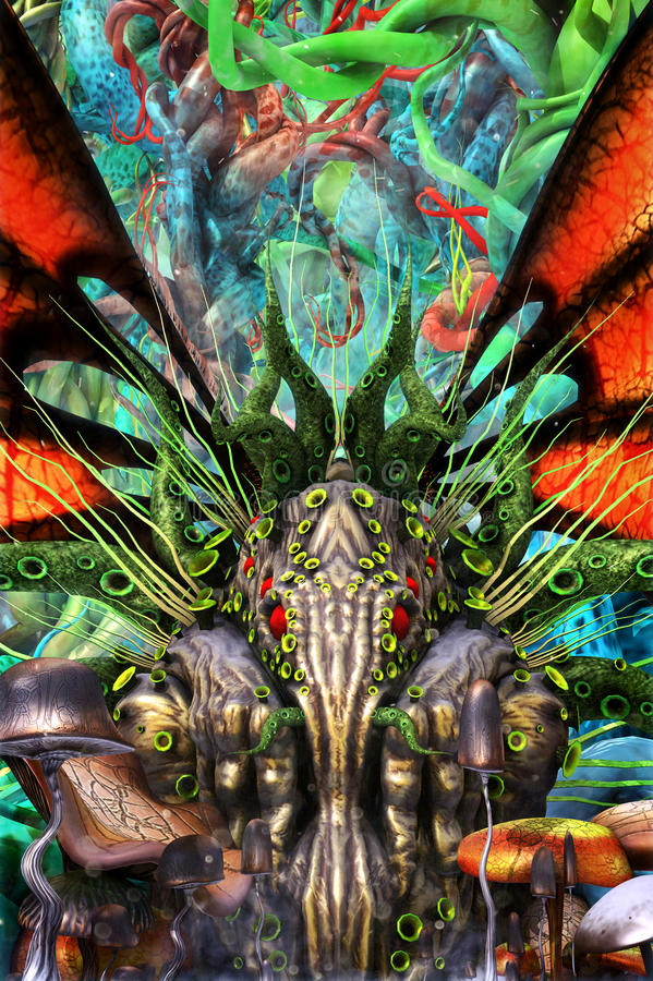 Jardim do monstro da fantasia de Cthulhu ilustração stock