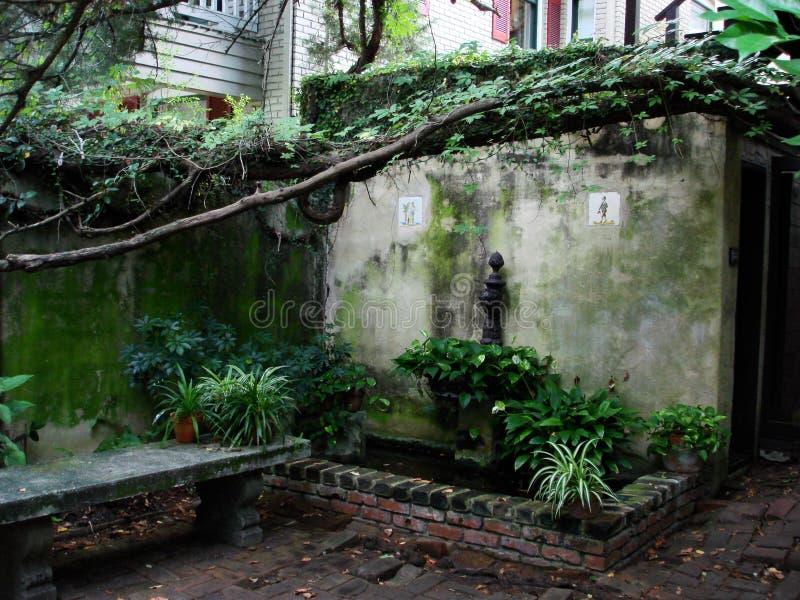 Jardim do pátio com tijolos, o banco de pedra, e as videiras foto de stock royalty free