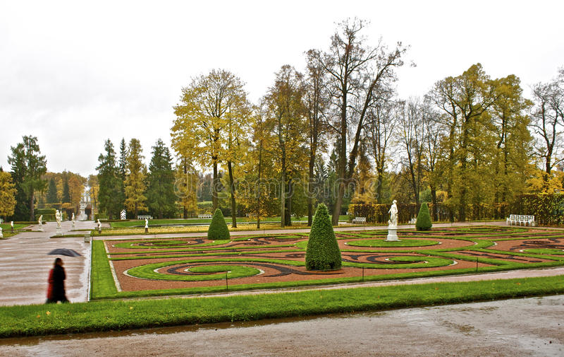 Jardim do palácio de Catherine em St Petersburg fotos de stock royalty free