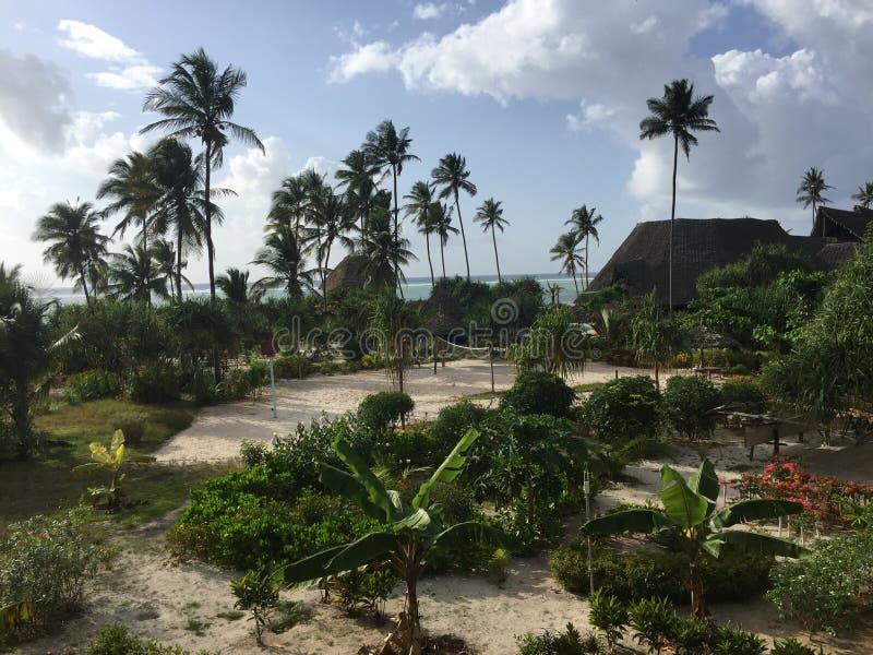 Jardim e vista para o mar da ilha do paraíso da estância de verão de Zanzibar foto de stock royalty free