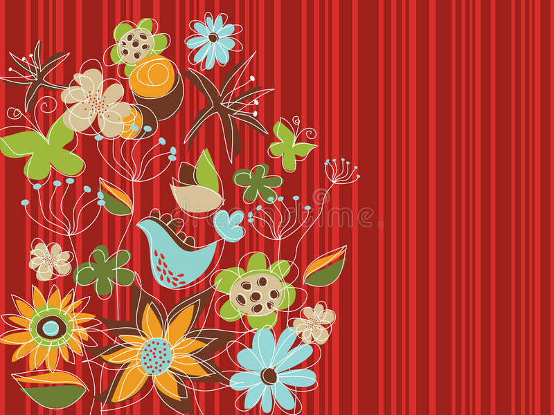 Jardim floral vermelho do estilo livre ilustração stock