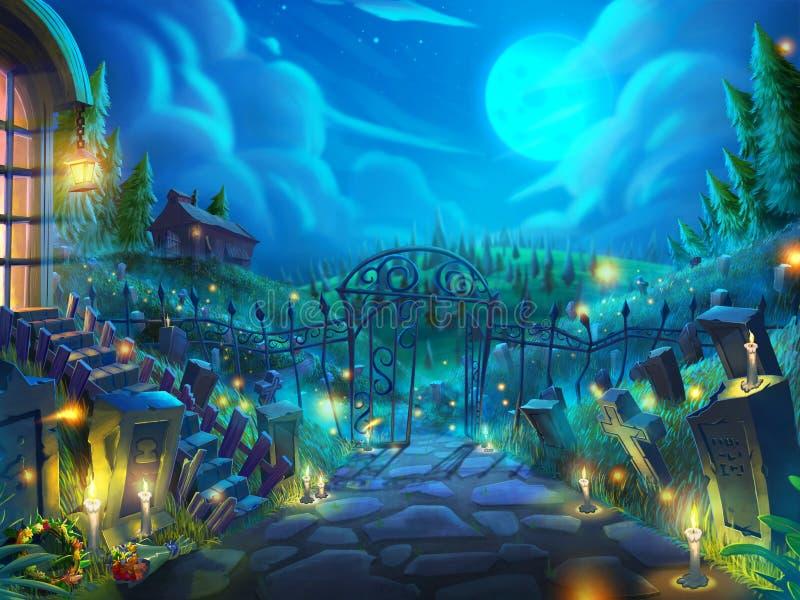 Jardim inoperante de Dia das Bruxas, cemitério do zombi na noite com fantástico ilustração royalty free