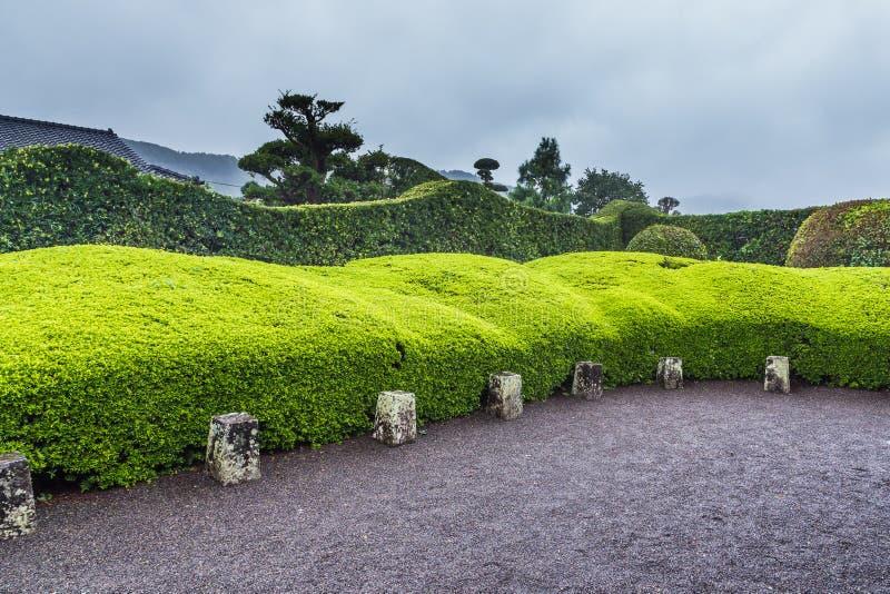 Jardim japonês bonito no distrito do samurai de Chiran em Kagoshim fotografia de stock