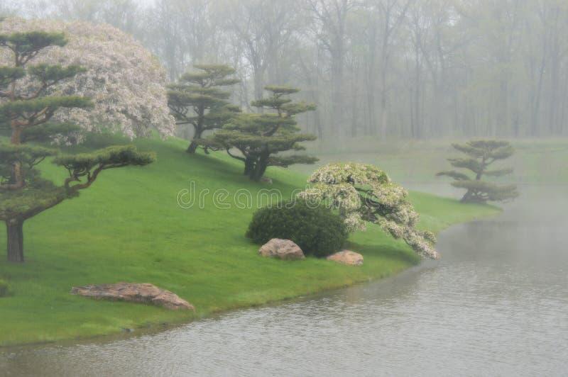 Jardim japonês nevoento imagens de stock