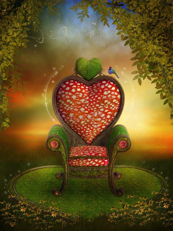 Jardim mágico com um trono feericamente ilustração stock