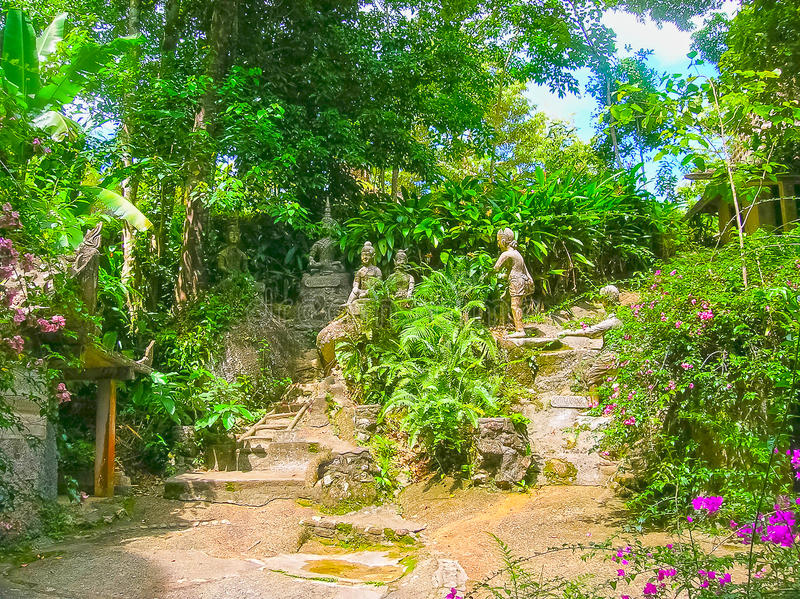 Jardim mágico da Buda de Tanim, ilha de Koh Samui fotografia de stock