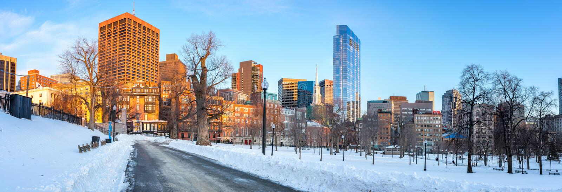 Jardim público de Boston no inverno fotografia de stock