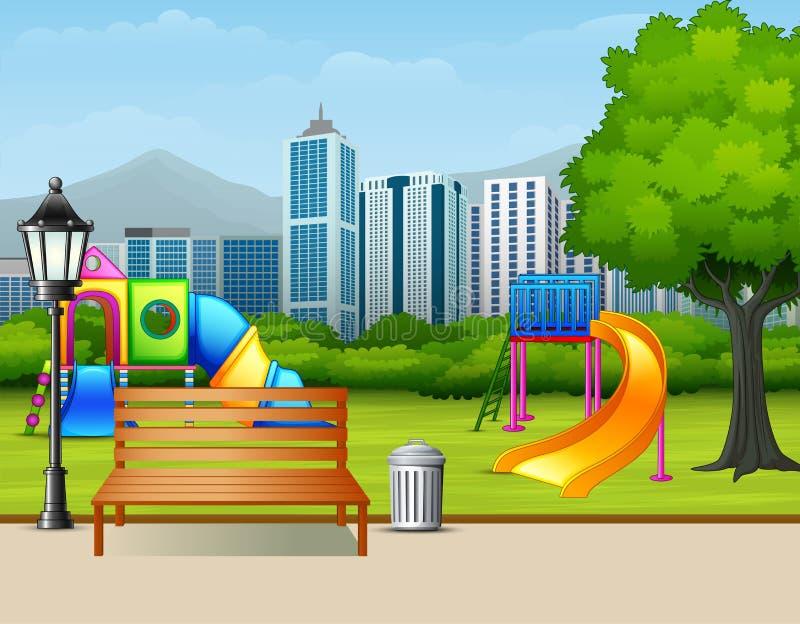 Jardim público do verão urbano com campo de jogos das crianças ilustração royalty free
