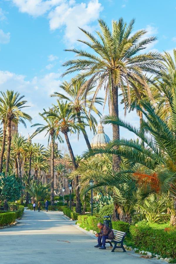 Jardim p?blico de Bonanno da casa de campo em Palermo imagem de stock