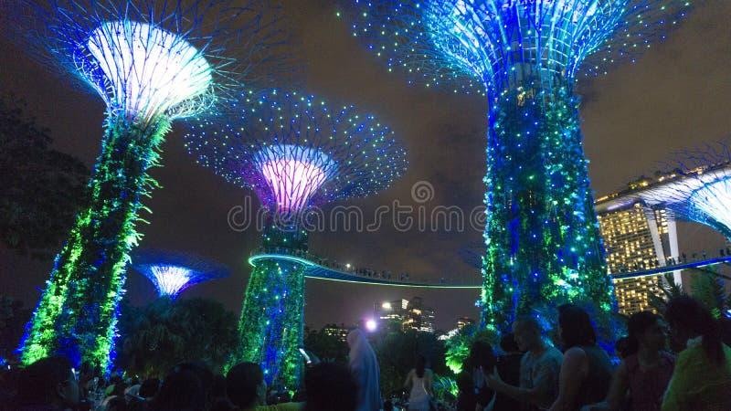 Jardim pela ba?a em singapore foto de stock