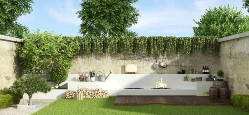 Jardim pequeno com assado ilustração royalty free