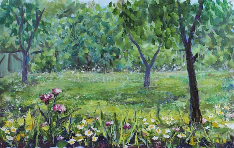 Jardim rústico do verão, árvores, flores, cerca, pintura a óleo ilustração stock