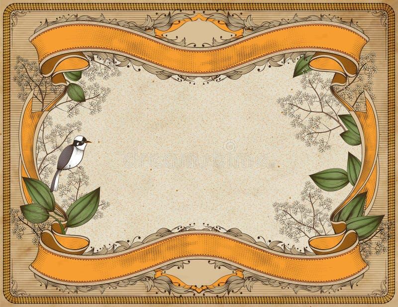 Jardim retro com pássaro e fitas ilustração stock
