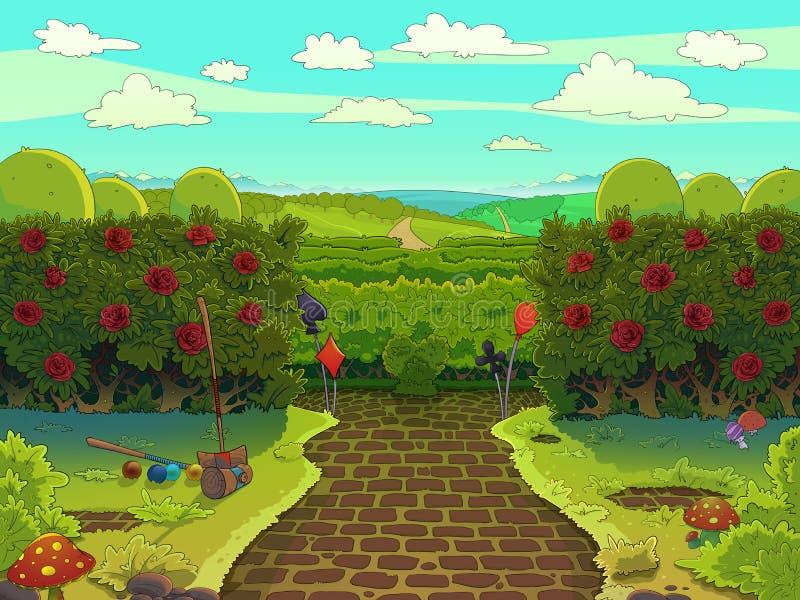 Jardim verde com rosas vermelhas, corte do cróquete ilustração royalty free