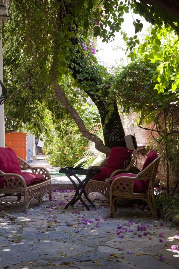 Jardim verde de assento de madeira no hotel pequeno, bodrum do lugar fotos de stock