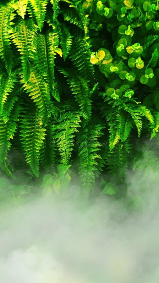 Jardim vertical com a folha verde tropical fotografia de stock royalty free